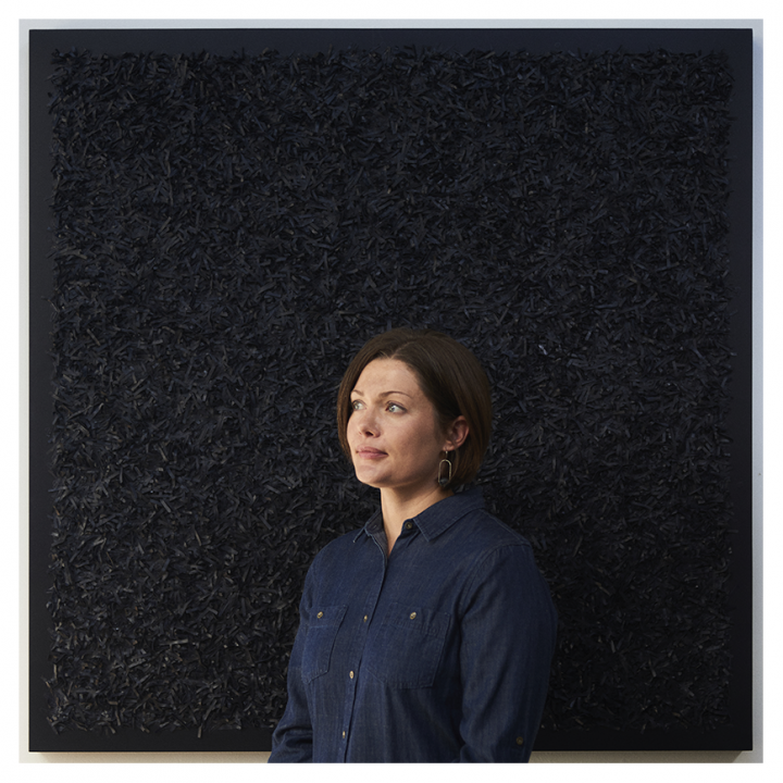 Laura Hapka in front of 'Dark Matter'